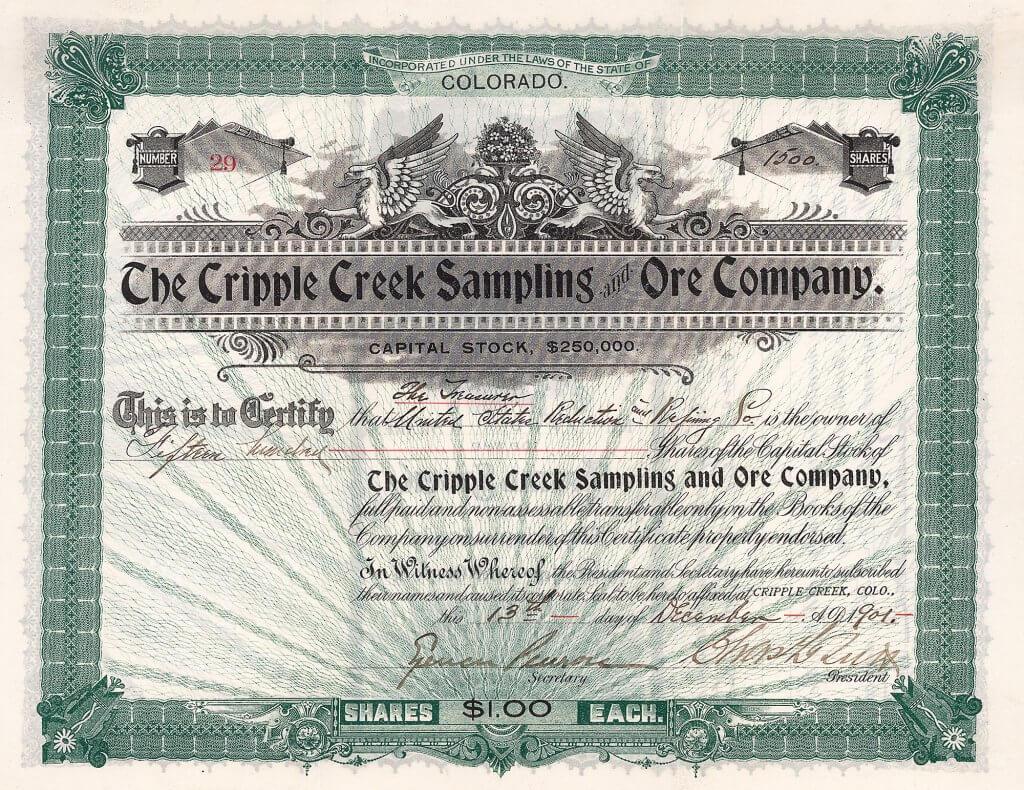 Die Cripple Creek Sampling and Ore Company wurde gegründet 1895 für die Ermittlung der Goldkonzentration in angelieferten Erzen nach durchgeführten Probebohrungen. Die Gesellschaft gehörte zu der Gruppe von Charles Tutt und Spencer Penrose, Das Werk der Gesellschaft befand sich auf Bull Hill, direkt in der Nähe der profitabelsten Goldminen im ganzen Cripple Creek Distrikt. Täglich wurden ca. 1200 Tonnen Golderz in einer Mühle verarbeitet. Außerdem betrieb die Company eine Gesteinsmühle in der Stadt Cripple Creek mit einer Verarbeitungskapazität von 10.000 Tonnen monatlich. Die Gesellschaft zahlte auch Vorschüsse an die kleinen Goldgräbern, die eine Wartezeit von mehreren Wochen dann überbrücken konnten (zuerst mußte das Erz auf den Goldgehalt überprüft werden, erst dann wurde es zur Schmelze gebracht).