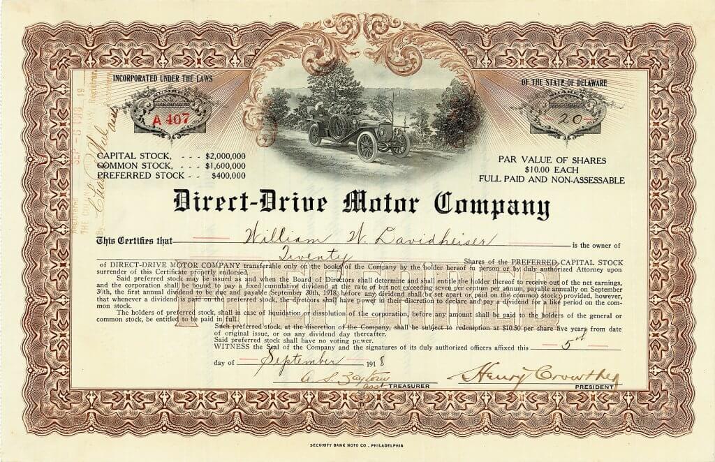 Direct-Drive Motor Company, Aktie von 1918. Die Firma baute Automobile unter der Marke Champion. Die Fahrzeuge waren als Vier- oder Sechszylinder zu bekommen und galten als langlebige Gebrauchsfahrzeuge.