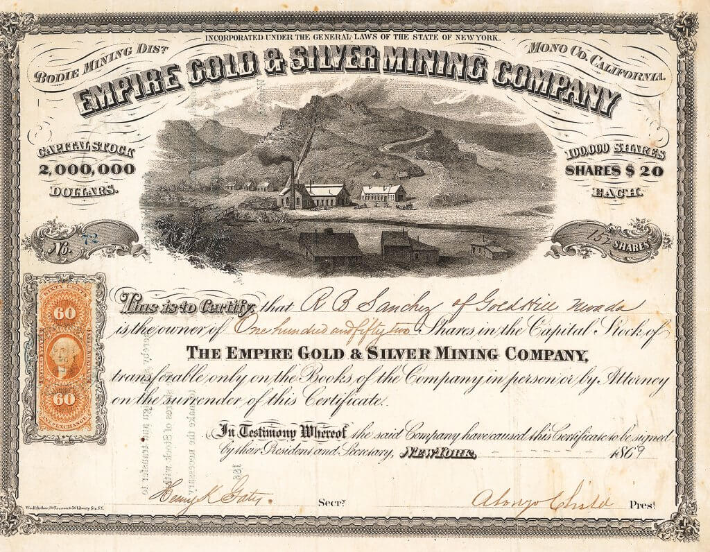 Empire Gold & Silver Mining Company - Aktie von 1869. Gold- und Silberminen im Bodie Mining district, Mono Co., California, mit einem Kapital von 2.000.000 $. Eine der eindruckvollsten Goldminen-Aktien überhaupt.