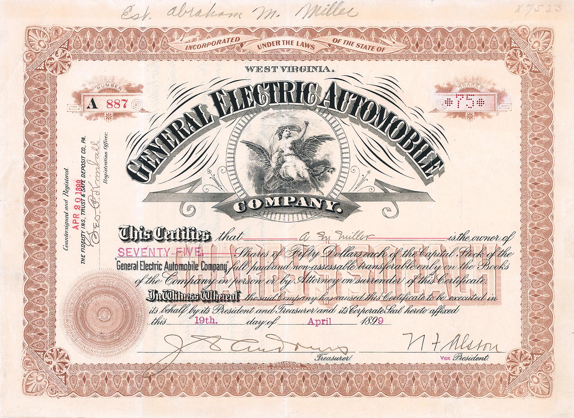 General Electric Automobile Company West Virginia Aktie