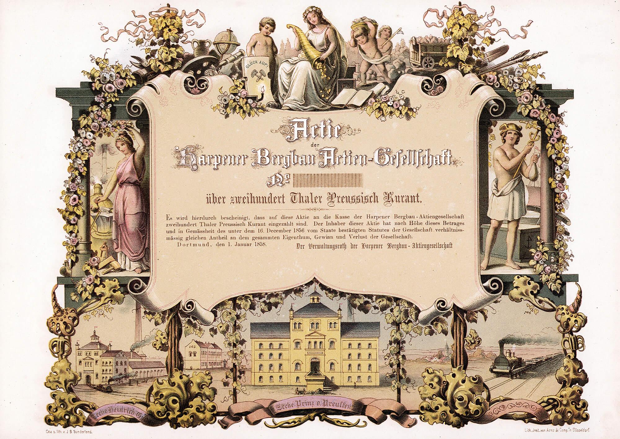Harpener Bergbau AG, Dortmund, Blankette der Gründeraktie über 200 Taler aus dem Jahr 1858. Initiator war der Dortmunder Arzt Friedrich Wilhelm Müser, dessen Vorfahren sich bereits im 18. Jahrhundert um den Steinkohlenbergbau bemüht hatten. Noch im Gründungsjahr wurde mit dem Aufbau der Zechen Prinz von Preußen bei Bochum-Werne und Heinrich Gustav bei Altenbochum begonnen.