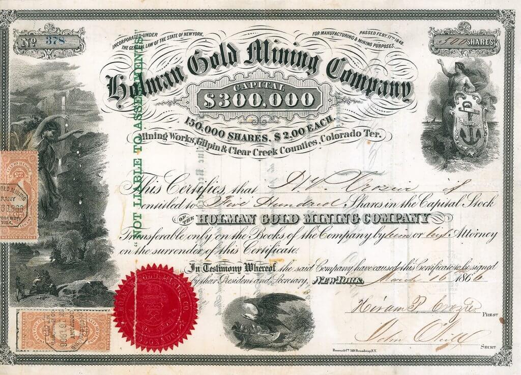 Holman Gold Mining Company, New York - Aktie von 1866. Als das herrliche Papier erstmalig verauktioniert wurde, lag der Zuschlag bei 2500 DM (1998). Historische Wertpapiere für Sammler, Historiker, Heimatforscher, Kunstliebhaber und Kapitalanleger.