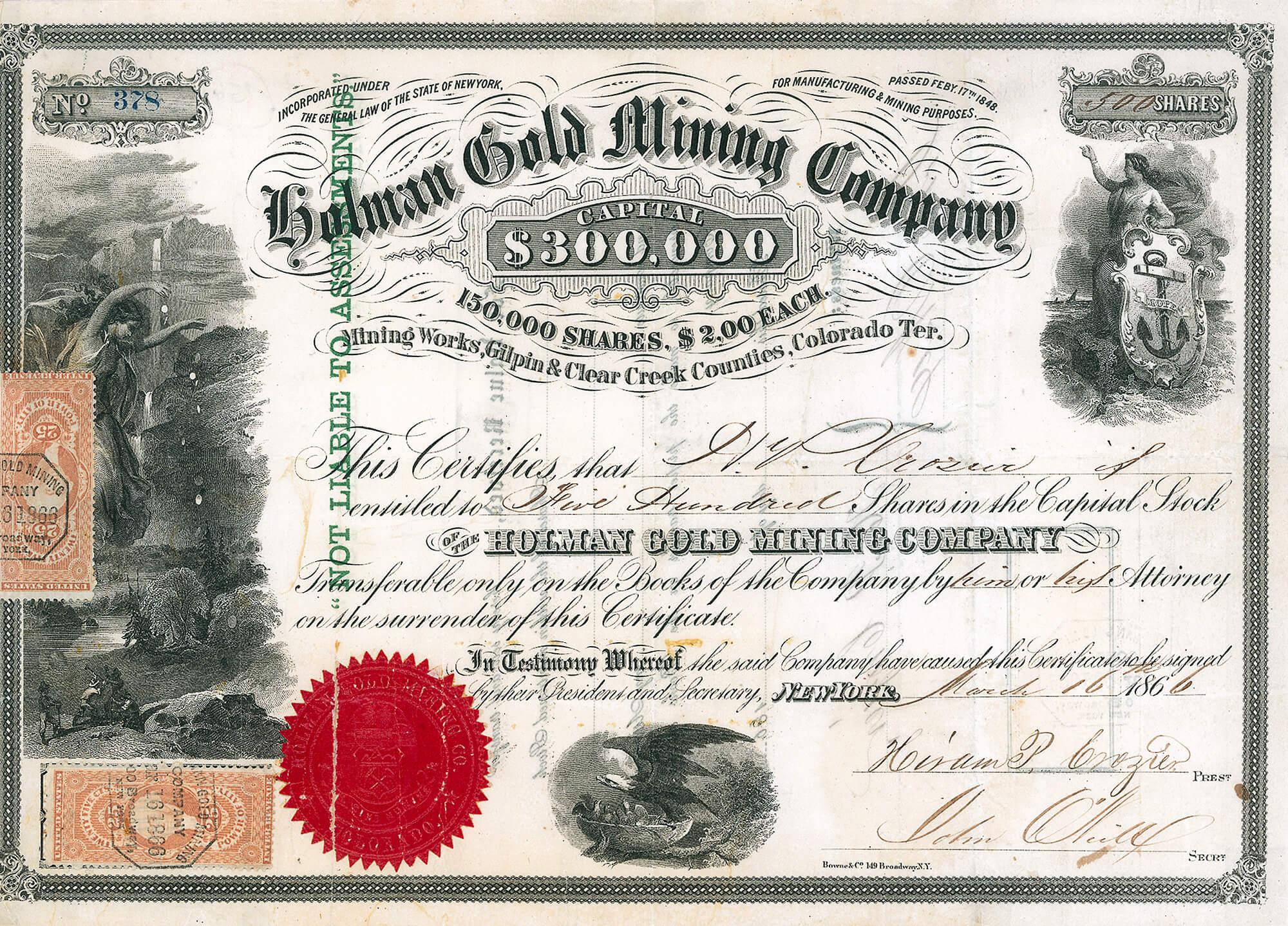 Holman Gold Mining Company New York Aktie Von 1866 115623