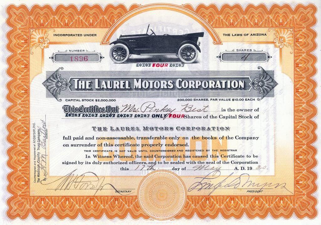 Laurel Motors Corp. Der Laurel wurde von 1916 bis 1920 als Touring und Roadstar mit einem 4-Zylinder Motor gebaut und für 895 $ verkauft. 1924 wurde die Firma verkauft an Arthur S. Sinclair, eine Enthusiasiten des Automotorsports. Bis in die 1930er Jahre war Laurel nun Motorsportausrüster für Ford, Dodge und Overland.