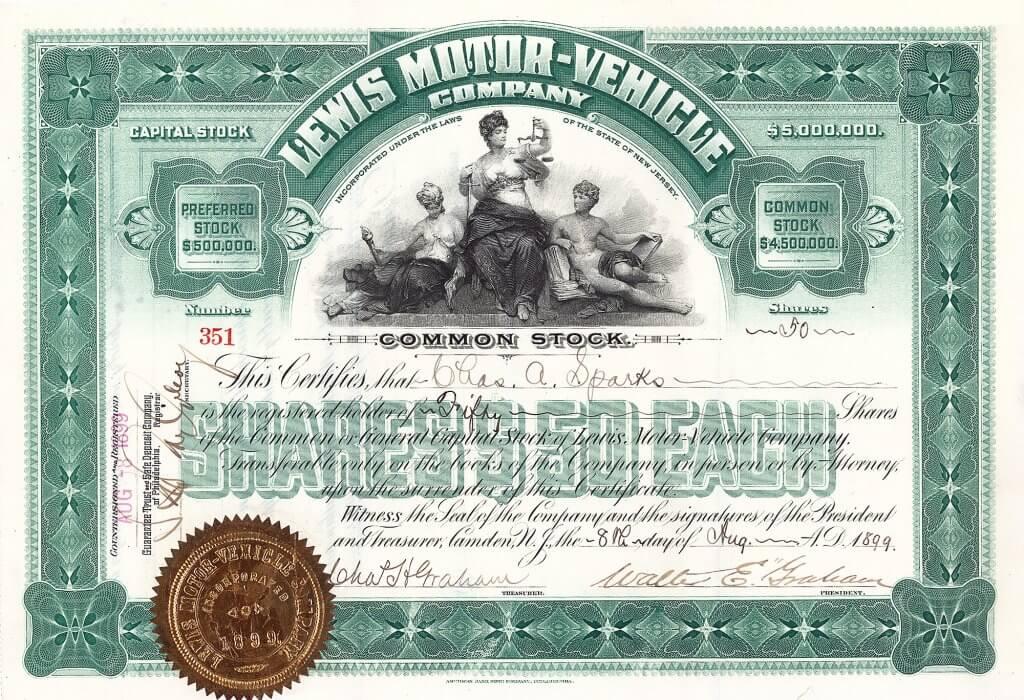 """Lewis Motor-Vehicle Co. 1899 baute der aus Chicago stammende Erfinder George W. Lewis in Philadelphia eine Automobilproduktion auf. Seine bis 1902 gebauten """"gasoline wagons"""" besaßen Motoren mit einem horizontal angeordneten Zylinder."""