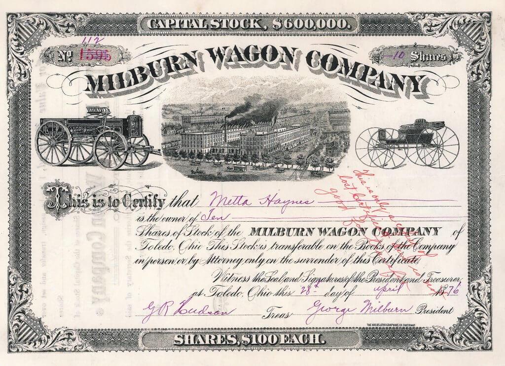 Milburn Wagon Company. Gründung 1873. Bau von Kutschen und Fuhrwerken, später auch von Farm-, Transport- und Eisenbahnwagen sowie Lastwagen, Automobilen und elektronischen Komponenten. 1923 aufgelöst.
