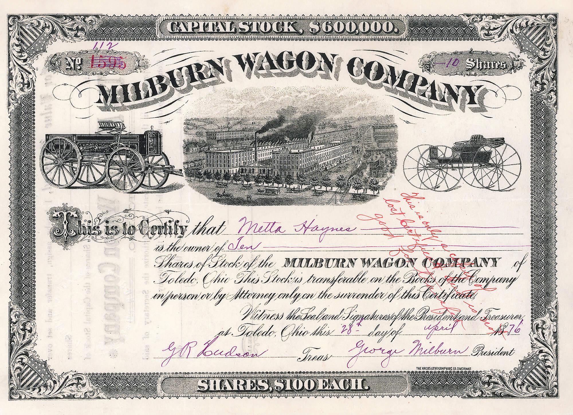 Milburn Wagon Company Toledo Ohio Aktie 1876 160095 Alte