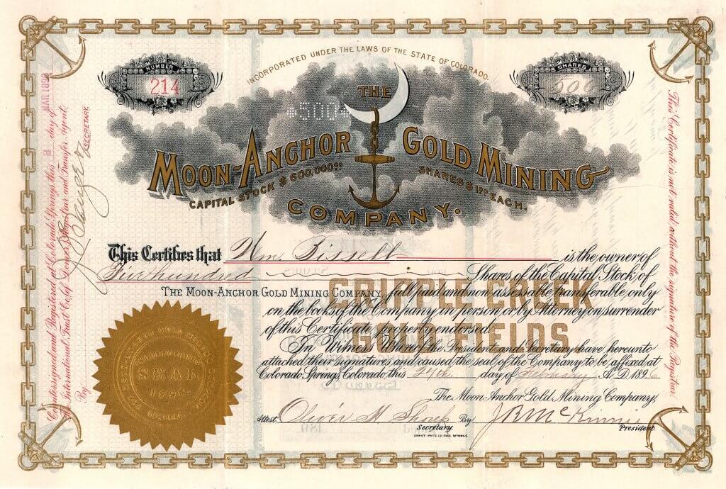 Gegründet 1896 für den Betrieb der Goldgruben Zeolite, Blooming und Surplus Fraction auf Battle Mountain in Cripple Creek Distrikt. Die Moon-Anchor-Aktien wurden an der Börse als Blue-Chip-Investment betrachtet. Im Gegensatz zu den meisten anderen Minengesellschaften betrieb die Ges. eine reelle Dividendenpolitik und ließ ihre Aktionäre an den Erträgen partizipieren. Die Gesellschaft besaß auch eine namhafte Beteiligung an der Moon-Anchor Consolidated Gold Mines, 1898 mit englischem Kapital gegründet. Dem Direktorium beider Gesellschaften gehörten J.R. McKinnie, O.H. Shoup und Verner Z. Reed an. Shoup und Reed machten bereits davor gemeinsame Geschäfte mit Ölfeldern in Wyoming. Um die Jahrhundertwende kaufte sich der Bergbaumagnat W.S. Stratton in die Goldmine ein und wurde zum leitenden Direktor.Gegründet 1896 für den Betrieb der Goldgruben Zeolite, Blooming und Surplus Fraction auf Battle Mountain in Cripple Creek Distrikt. Die Moon-Anchor-Aktien wurden an der Börse als Blue-Chip-Investment betrachtet. Im Gegensatz zu den meisten anderen Minengesellschaften betrieb die Ges. eine reelle Dividendenpolitik und ließ ihre Aktionäre an den Erträgen partizipieren. Die Gesellschaft besaß auch eine namhafte Beteiligung an der Moon-Anchor Consolidated Gold Mines, 1898 mit englischem Kapital gegründet. Dem Direktorium beider Gesellschaften gehörten J.R. McKinnie, O.H. Shoup und Verner Z. Reed an. Shoup und Reed machten bereits davor gemeinsame Geschäfte mit Ölfeldern in Wyoming. Um die Jahrhundertwende kaufte sich der Bergbaumagnat W.S. Stratton in die Goldmine ein und wurde zum leitenden Direktor.