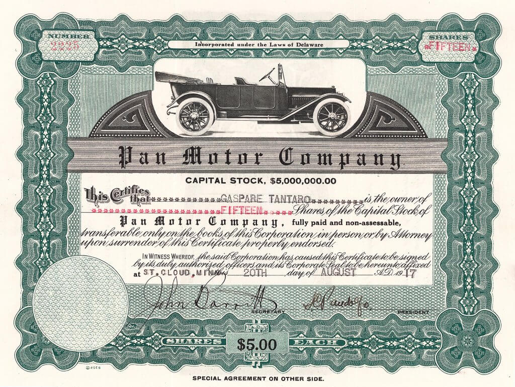 """Pan Motor Company. Aktie von 1917. Samuel Connor Pandolfo gründete 1917 am Ufer des Mississippi die Stadt """"Pan Town"""" (heute St. Cloud) mit allem was dazugehörte, einschließlich dem ersten Motel der Welt und einer Automobilfabrik"""