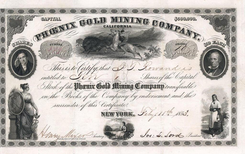 Phoenix Gold Mining Company, New York - Aktie von 1853. Herrliche Aktie einer Goldminengesellschaft aus Californien mit 6 Vignetten, darunter Abbildung eines büffeljagenden Indianers.