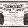 Reciprocity Mining Company, New York - Aktie von 1866. Die Goldminengesellschaft wurde 1864 unter den Gesetzen des Staates New York mit einem Kapital von 1 Million $ gegründet.