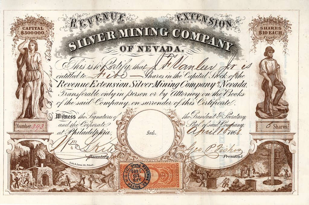 Revenue Extension Silver Mining Company of Nevada, Philadelphia - Aktie von 1866. Herrliche Gestaltung: Zwei feine Abbildungen mit Verhüttung über Tage und Erzabbau auf den Sohlen unter Tage, weitere Abbildung mit antiker Statue und Bermann mit Hacke.
