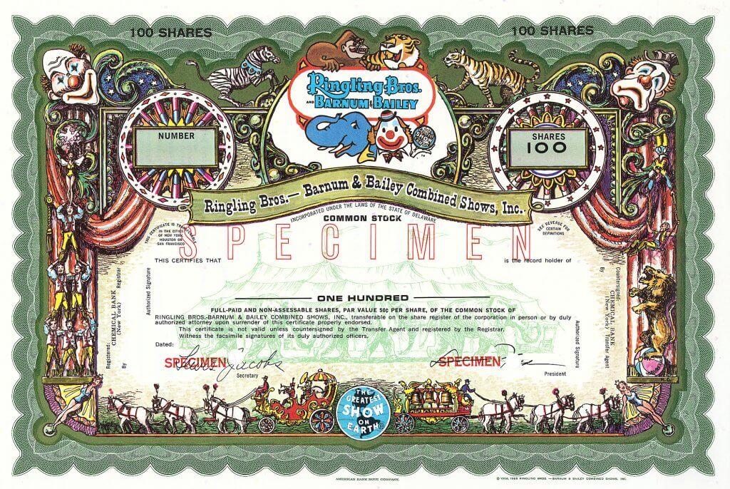 Ringling Bros. - Barnum & Bailey Combined Shows Inc., Washington D.C., Aktienmuster von ca. 1970. Herrliche farbenprächtige Gestaltung mit Clowns, exotischen Tieren, Artisten und Zirkuswagen mit geschmückten Pferden. Die schönste USA-Aktie der Nachkriegszeit.