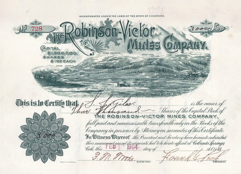 Robinson-Victor Mines Company, Colorado Springs, Colo. - Aktie von 1904. Die Robinson-Victor Mines Company wurde gegründet am 16.6.1896. Betrieb der Minen King (2,82 acres), Mollie Kathleen (6 acres) und Queen Bess (5,75 acres) bei Victor in Cripple Creek; ferner mehrere Goldminen bei Robinson, Colorado.