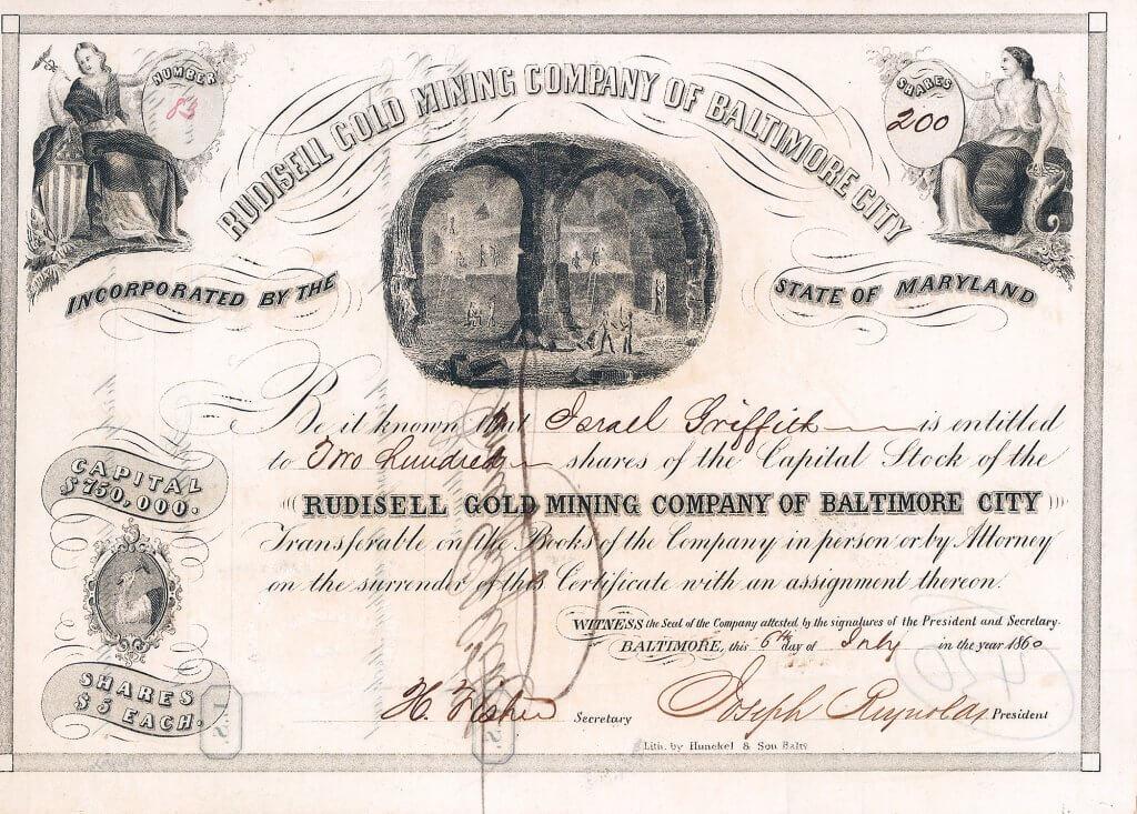Rudisell Gold Mining Company, Baltimore, Md. - Aktie von 1860. Bereits 1825 entdeckt, 1830 gepachtet von Count Chevalier Vincent de Rivafinoli, einem italienischen Edelmann, der seine Bergbauerfahrungen aus Europa mitbrachte. 1836-37 wurde die Mine aufgrund der Depression geschlossen. Danach von dem Engländer E. Pennmann betrieben als Rudisill Mine