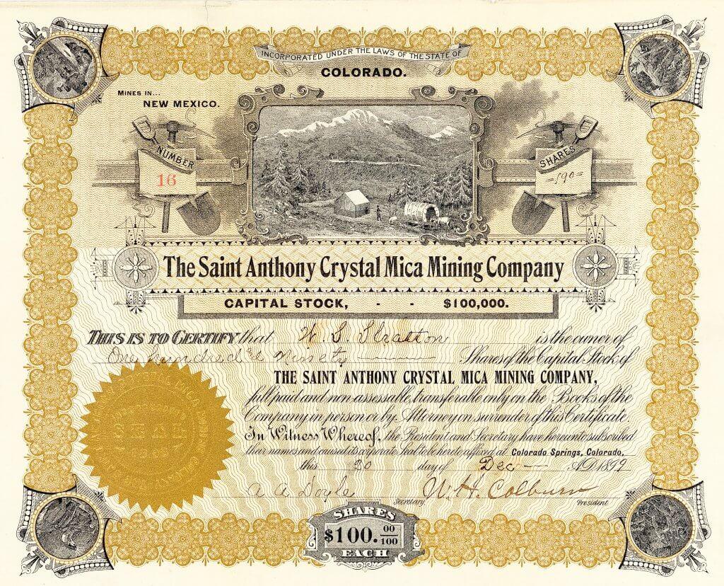 Saint Anthony Crystal Mica Mining Company, Colorado Springs, Colorado - Aktie von 1899. Die Gesellschaft wurde 1898 von W. M. Stratton gegründet und betrieb Goldminen in New Mexico. Stratton verwaltete die Gesellschaft von seinem Sitz in Colorado Springs, Colorado aus. Es war das einzige Goldminen-Engagement Stratton's außerhalb von Cripple Creek.