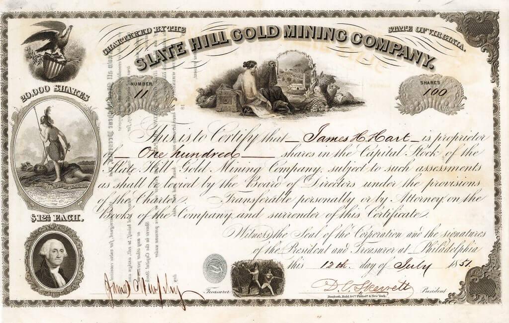 Slate Hill Gold Mining Company, Philadelphia - Aktie von 1851. Die Mine lag eine Meile östlich von Mineral, im Louisiana County, Virginia. Die  Mine wurde 1850 eröffnet, südwestlich neben der Slate Mine lag die Luce Mine. Die Minen wurden bis 1895 betrieben.