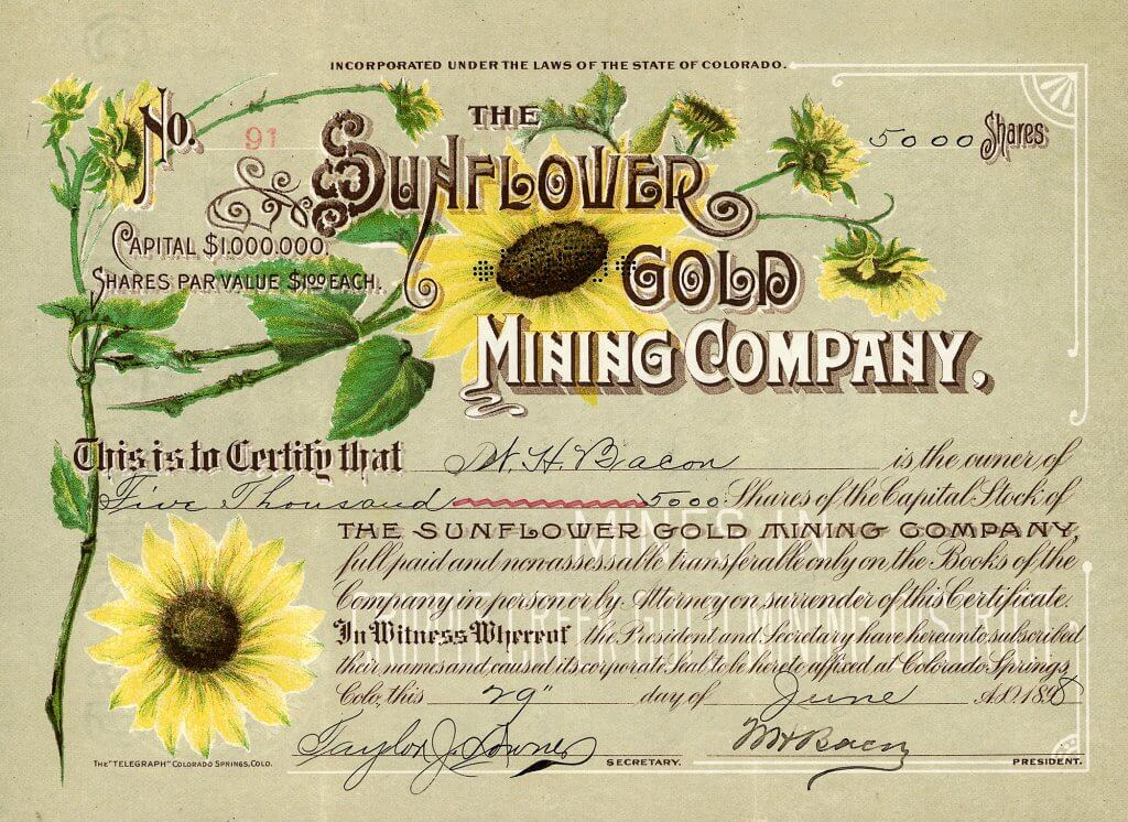 Sunflower Gold Mining Company, Colorado Springs, Colo. - Aktie von 1898. Eine der herausragendsten Goldminen-Aktien aus Colorado: Herrlicher mehrfarbiger Druck mit vielen Sonnenblumen, Jugendstil-Elemente in der Umrandung. Die Gesellschaft wurde gegründet am 11.12.1896.