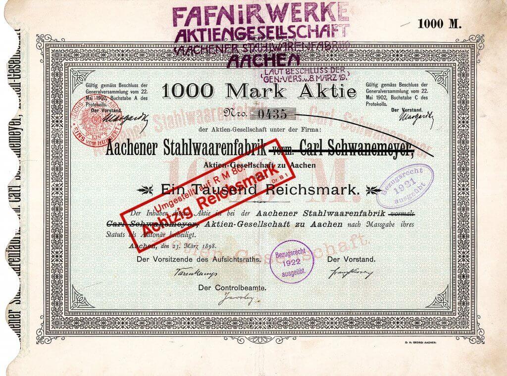 Gründeraktie der Aachener Stahlwaarenfabrik vorm. Carl Schwanemeyer AG aus dem Jahr 1898, ab 1919 Fafnirwerke AG. Fafnir wurde mit der Aufnahme der Automobilproduktion im Jahr 1908 schnell einer der führenden deutschen Automobilhersteller. Eigengefertigte Motoren mit 1520-2496 ccm Hubraum saßen unter der Haube ausgesprochen fortschrittlicher Autos. Mit Fahrern wie Caracciola, Uren, Hirth und Utermöhle fuhr Fafnir von einem Rennerfolg zum nächsten.