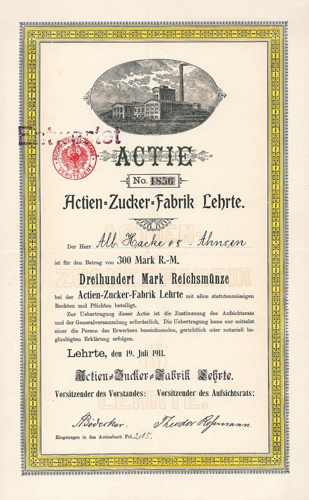 Actien-Zucker-Fabrik Lehrte - Historische Aktie von 1911. Die 1884 gegründete Gesellschaft übernahm im Laufe der Zeit die Zuckerfabriken Equord, Hohenhameln, Clauen, Algermissen, Burgdorf und Peine. 1962 Umfirmierung in Lehrter Zucker AG. 1990 Übertragung des gesamten Vermögens auf die Zuckerverbund Nord AG in Braunschweig.