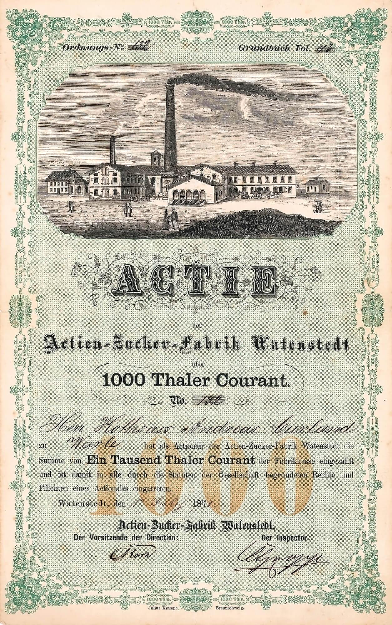 Actien Zucker Fabrik Watenstedt Actie 1000 Thaler Von 1871