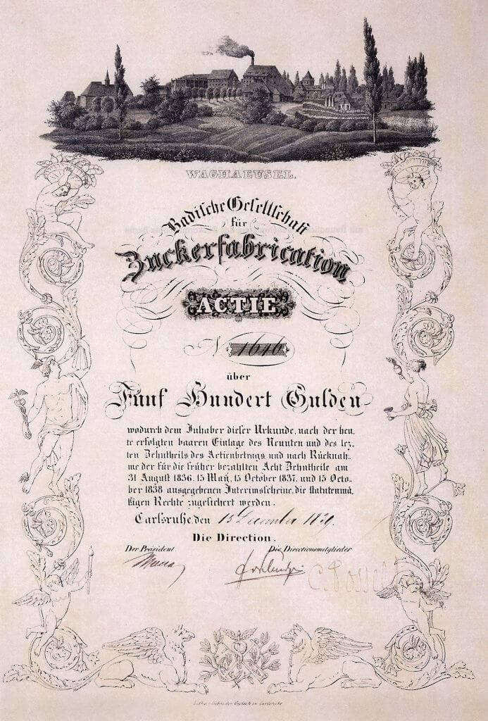 Historische Aktie der Badischen Gesellschaft für Zuckerfabrication in Karlsruhe aus dem Jahr 1839. Gründeraktie. Seit Jahrzehnten nur ein einziges Original bekannt (das hier vorgestellte Exemplar), welches im Zuckermuseum in Berlin hängt.