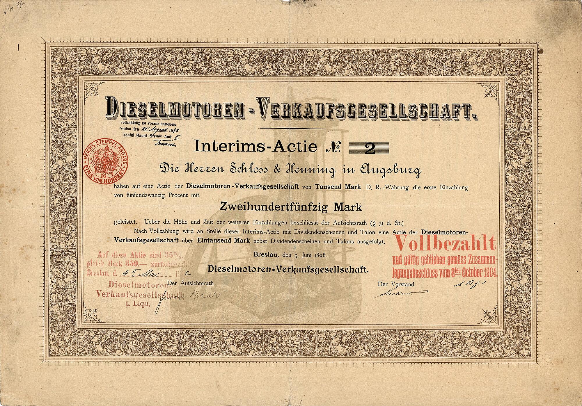 Dieselmotoren Verkaufsgesellschaft Breslau Interims Actie