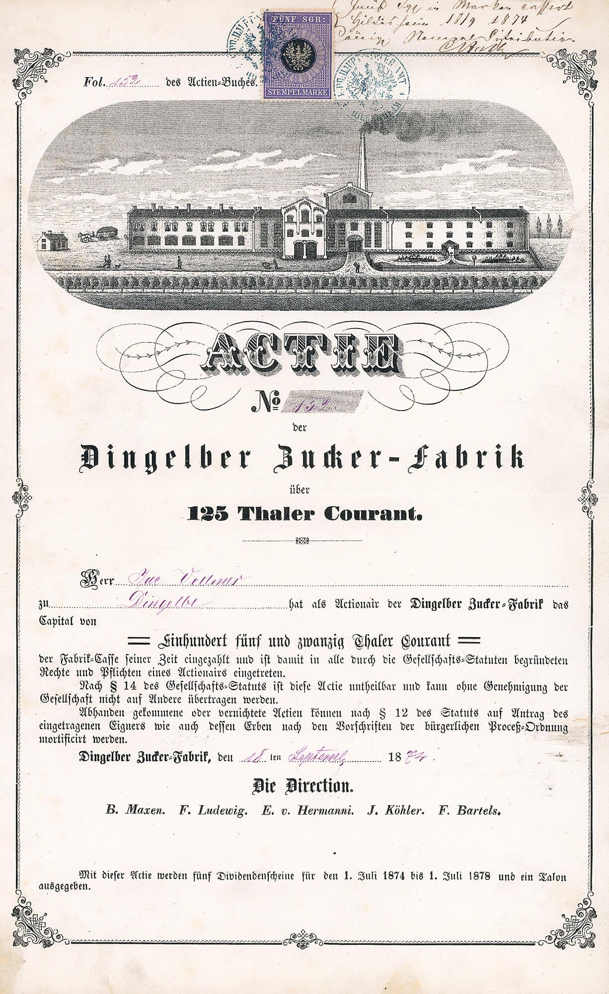 Dingelber Zucker Fabrik Dingelbe Actie 125 Thaler Von 1874