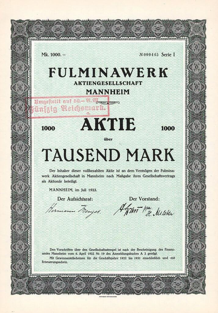 """Fulminawerk AG in Mannheim aus dem Jahr 1922. Gegründet 1911 als Fulminawerk Carl Hoffmann in Mannheim-Käfertal. Unter dem Markennamen """"Fulmina"""" (römische Göttin des Blitzes) wurden von 1913 bis 1926 Automobile der Mittelklasse produziert."""
