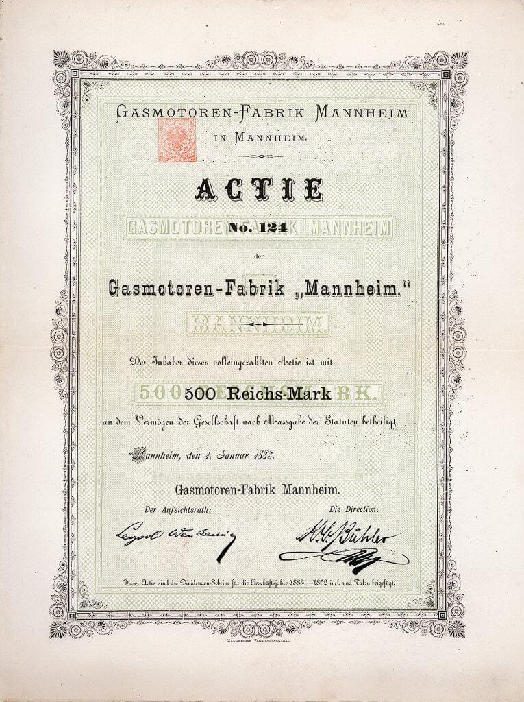 """Gasmotoren-Fabrik Mannheim, Aktie über 500 Reichs-Mark aus dem Jahr 1883. Gründung 1882 nach Übernahme der 1871 in Mannheim von Carl Benz errichteten Firma """"Carl Benz & August Ritter, Mechanische Werkstätte""""."""
