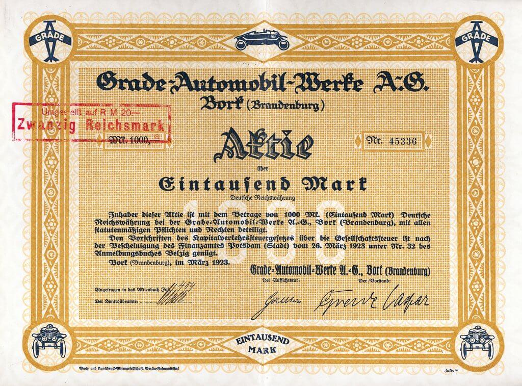 Grade-Automobil-Werke, Bork (Brandenburg), historische Aktie von 1923. Auf der Berliner Automobilausstellung 1921 stellte Hans Grade einen offenen Zweisitzer mit bootsförmiger Karrosserie. 1924 war es der in Deutschland meistverkaufte Kleinwagen.