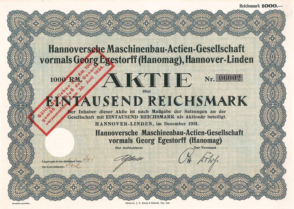 """Historische Aktie der Hannoverschen Maschinenbau-AG vormals Georg Egestorff aus dem Jahr 1931. Automobilbau ab 1924. Der 499-ccm- Hanomag, ein 10-PS-Einzylinder, liebevoll """"Kommisbrot"""" genannt, war von sehr guter Qualität und zudem im Preis für größere Bevölkerungsschichten erschwinglich, also eigentlich der erste """"Volkswagen"""""""