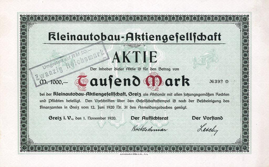 Historische Gründeraktie der Kleinautobau-AG in Greiz i.V. über 1.000 Mark aus dem Jahr 1920. 1922 umfirmiert in FREIA-Automobil. FREIA war der teuerste, aber auch einer der elegantesten deutschen Kleinwagen dieser Zeit. Mit dem Bau von Rennwagen und der Teilnahme an vielen bedeutenden Autorennen festigte FREIA ihren Ruf. Das Stück ist ein Unikat.