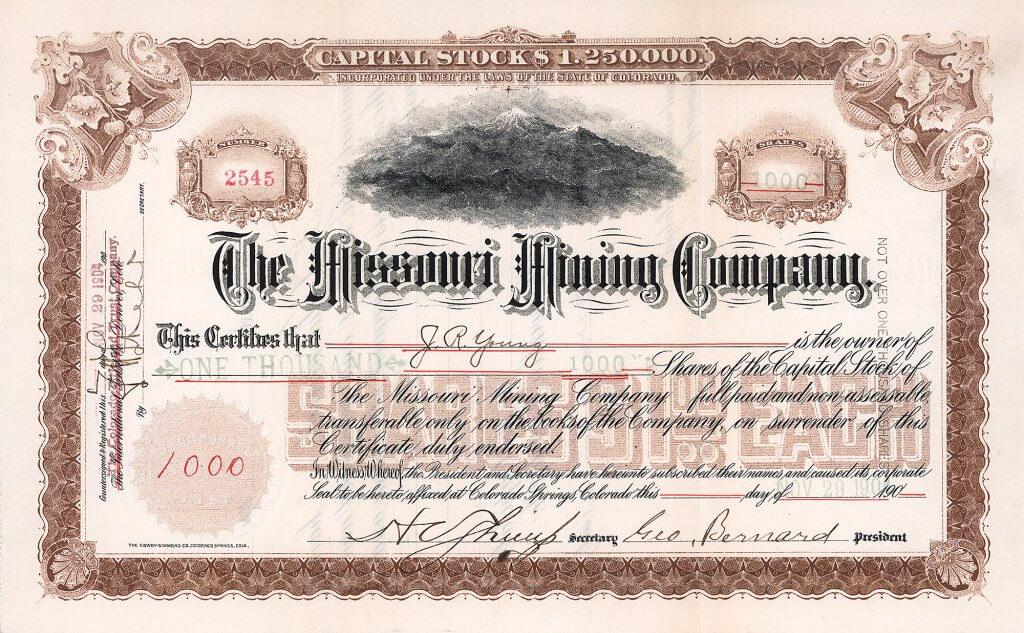 Missouri Mining Company, Colorado Springs, Colorado, Aktie von 1904. Sehr dekorative Vignette mit Darstellung von Pikes Peak, dem majestätischen Berg in der Front Range der Rocky Mountains, nahe Colorado Springs.