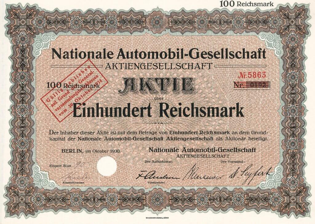 """Historische Aktie der Nationalen Automobil-Gesellschaft AG, Berlin aus dem Jahr 1930. Das bekannteste NAG-Auto war der """"Puck"""". Selbst die Kaiserin ließ sich ausschließlich in NAG-Wagen chauffieren. Während des 1. Weltkrieges auch Bau von Benz-Flugzeugmotoren..."""