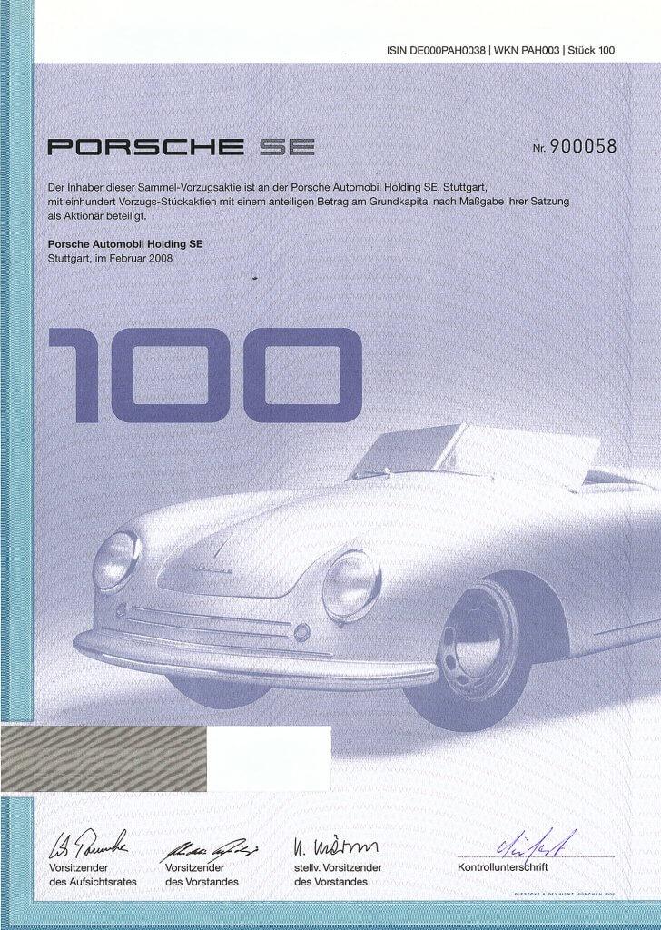 Gültige Aktie des Porsche Automobil Holdings in Stuttgart aus dem Jahr 2008. Sehr dekoratives Papier mit großer Abbildung eines Porsche 356. Gedruckte Unterschriften von Wolfgang Porsche und Wendelin Wiedeking.