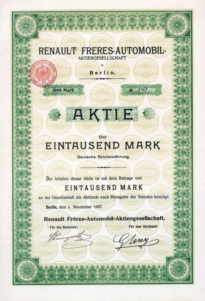 Historische Aktie der Renault Frères-Automobil-AG in Berlin. Die deutsche Renault-Tochter wurde gegründet von dem französischen Ingenieur Louis Renault, der die Renault-Werke gründete (1899 Société Renault Frères, 1909 umgewandelt zu Société anonyme des usines Renault). Nur 7 Stücke sind bekannt.