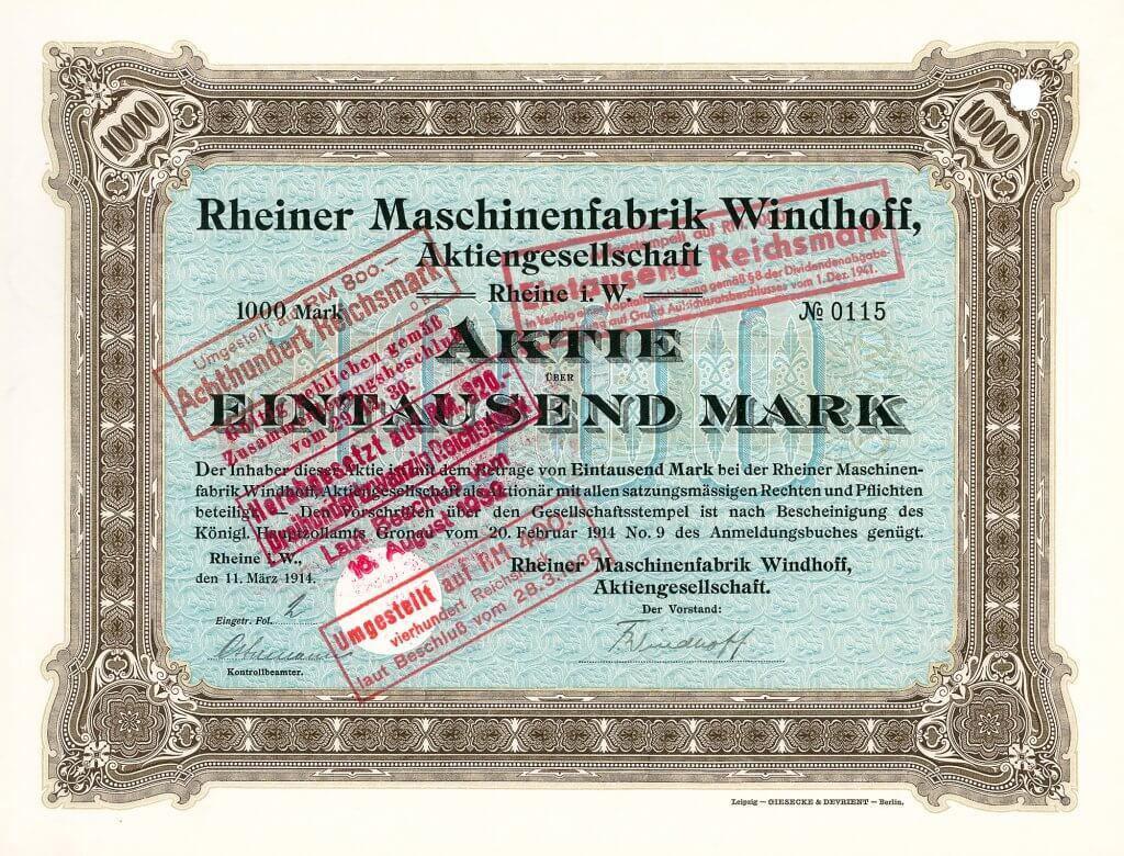 Historisches Wertpapier der Rheiner Maschinenfabrik Windhoff AG in Rheine i.W., eine Gründeraktie aus dem Jahr 1914. Das Automobil-Programm umfasste Modelle mit Vier- und Sechszylindermotoren angetrieben wurden. Besonders der Sechszylinder mit einer 3.9 Liter-Maschine genoss einen hervorragenden Ruf.