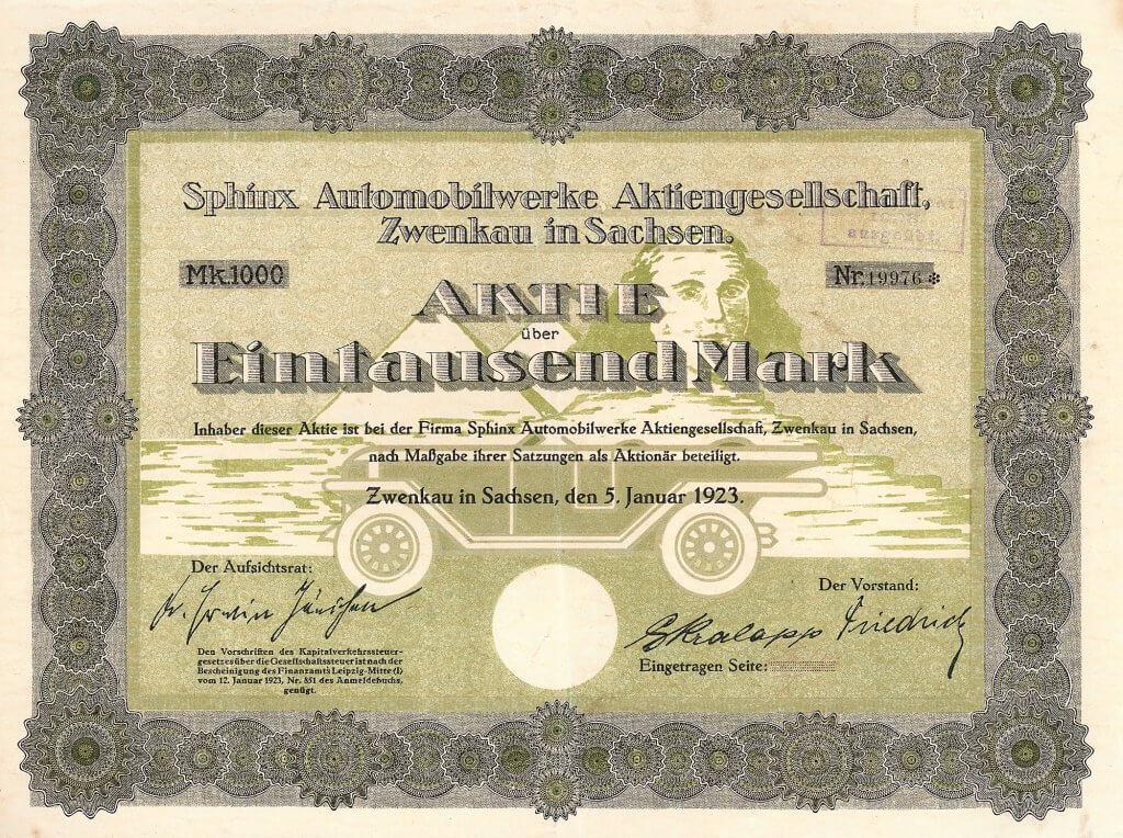 Historische Aktie der Sphinx Automobilwerke Aktiengesellschaft in Zwenkau in Sachsen aus dem Jahr 1923. Fünf Jahre lang (1920-1925) baute die Gesellschaft Wagen der unteren Mittelklasse, u.a. ein 22-PS-Modell mit 4-Zylinder-1320-ccm-Maschine. Dekoratives Papier!