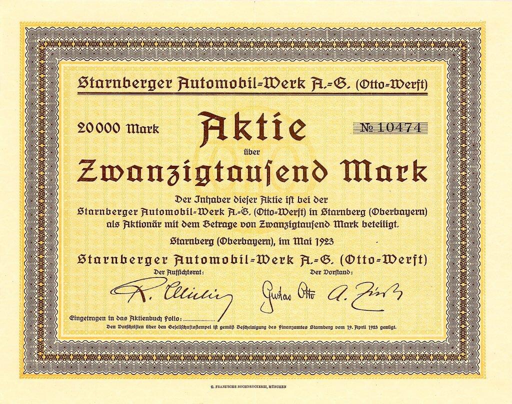 Starnberger Automobil-Werk, Starnberg, Gründeraktie über 20.000 Mark von 1923. Eine Gründung von Gustav Otto (1883-1926), dem Sohn von Nicolaus August Otto. Sein Vater hatte in den 1860er Jahren den nach ihm benannten Viertakt-Motor erfunden.