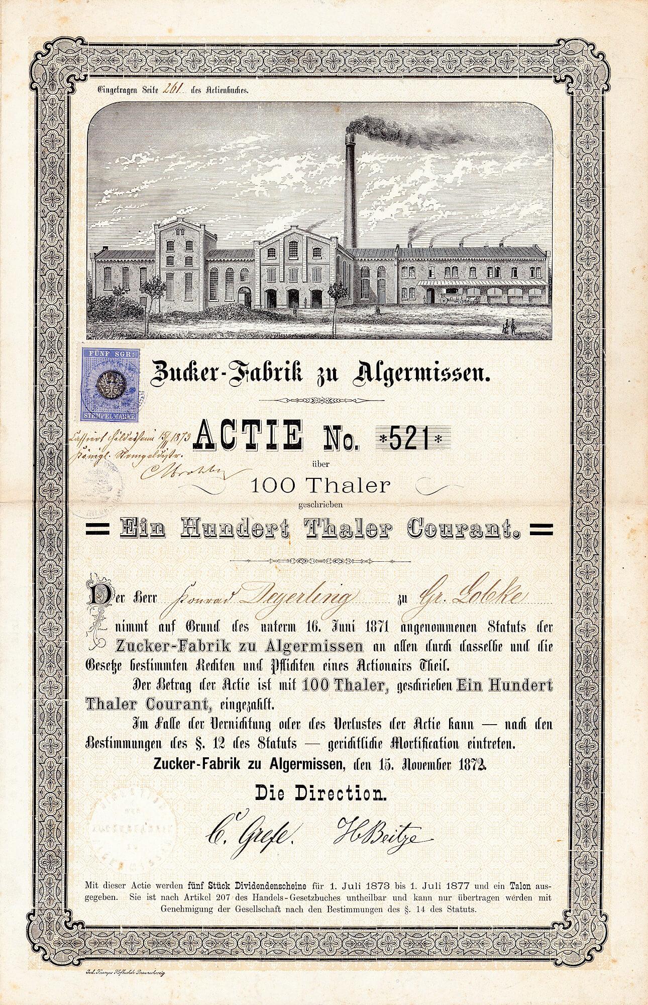 Zucker Fabrik Zu Algermissen Actie 100 Thaler Von 1872