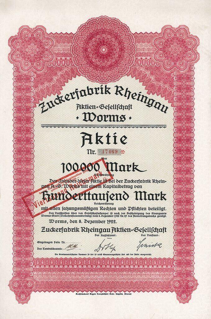 Zuckerfabrik Rheingau in Worms - Historische Aktie von 1922. Äußerst seltenes Wertpapier der 1913 gegründeten Gesellschaft, die in der Süddeutsche Zucker-AG aufgegangen ist. Heute ist Südzucker der größte Zucker-Konzern in Europa.