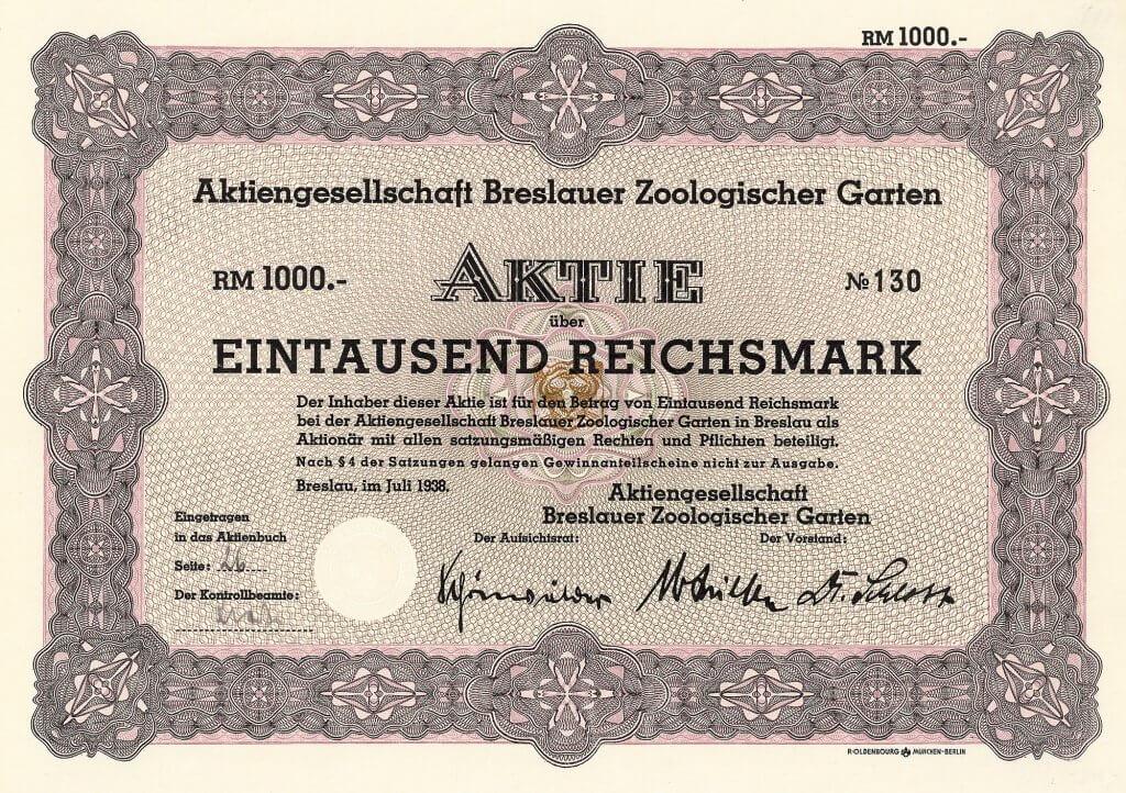 Zoo Breslau - Historische Aktie des Breslauer Zoologischen Gartens aus dem Jahr 1938. Nach dem großen Erfolg bei der Gründung des Berliner Zoos (1845) kam 1858 auch in Breslau der Wunsch nach einem eigenen Tiergarten auf, was 1865 zur Gründung der AG Breslauer Zoologischer Garten führte.