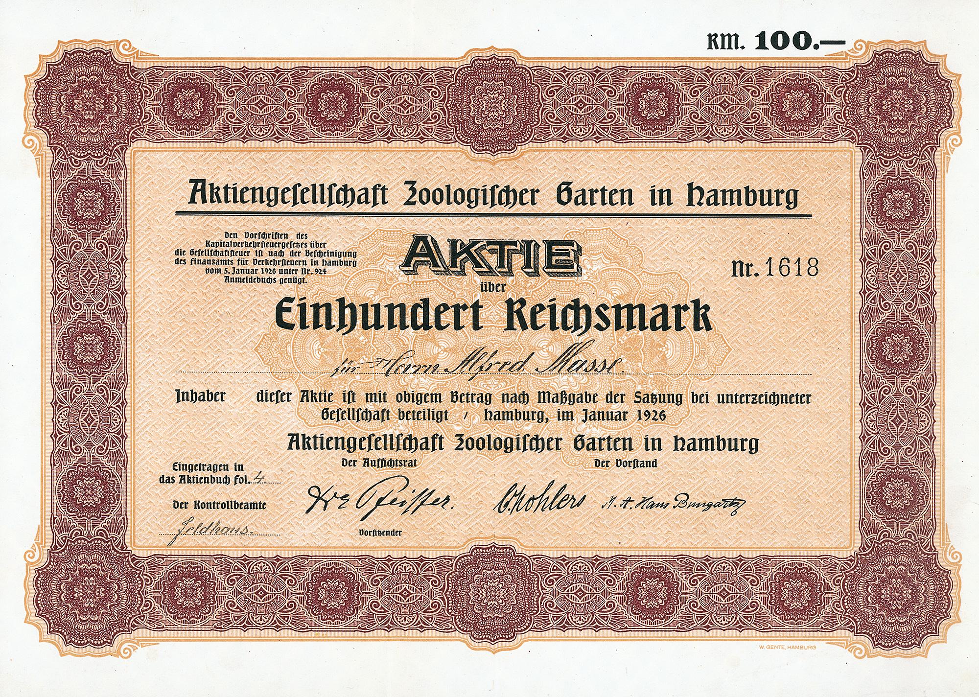 Zoologische Gesellschaft In Hamburg Historische Aktie