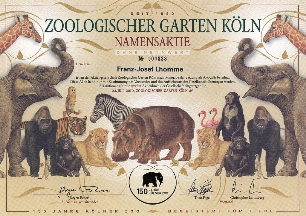 Gültigen Namensaktie der AG Zoologischer Garten Köln ohne Nennwert, datiert 22.7.2010, Schätzpreis (laut SUPPES-Katalog): 350,- Euro