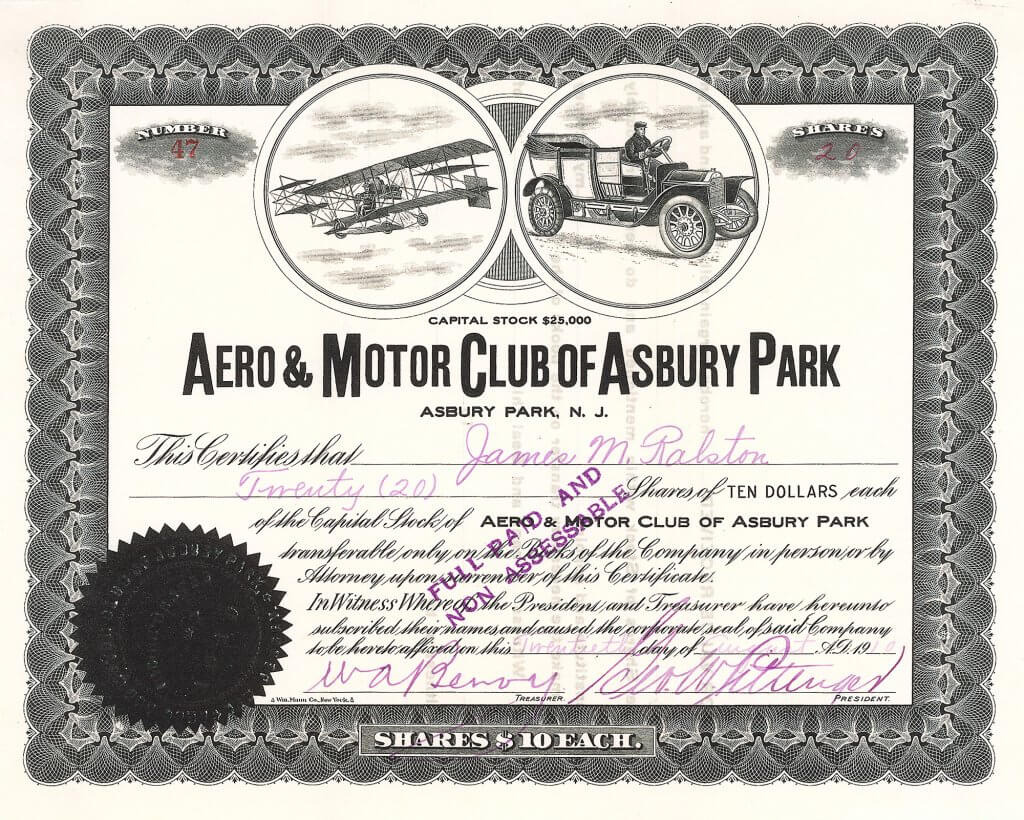 Aero & Motor Club of Asbury Park, Historische Aktie von 1910. 1910 war ein entscheidendes Jahr für die zivile Luftfahrt: Orvill Wright hatte seinen berühmten Flug nach Deutschland gemacht, und Curtiss hatte auf den ersten Flugschauen der Welt in Frankreich und Italien Siege errungen.