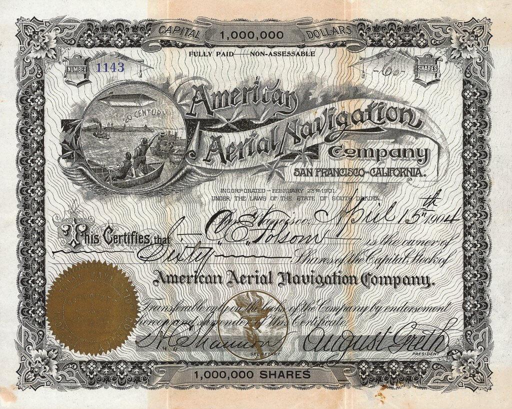 """American Aerial Navigation Company - Historische Aktie von 1904. Mit dem von ihm gebauten """"California Eagle""""-Luftschiff unternahm Dr. August Greth den allerersten motorisierten Flug in der Luftfahrtgeschichte der USA."""