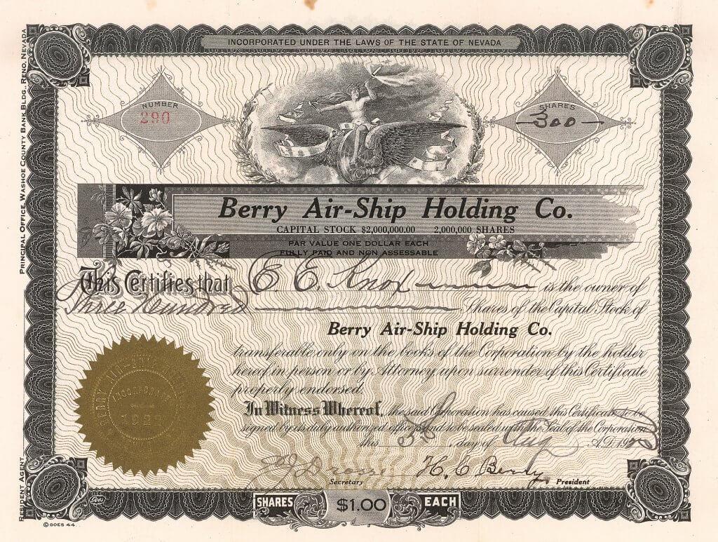 Berry Air-Ship Holding Company, historische Aktie von 1923.  Clarence C. Berry konstruierte ein wirklich kurioses Luftgefährt. Auf den ersten Blick mochte man es eher für ein Eisenbahnsignal halten, und es ist ungewiß, ob sich der Mechanismus über ein paar Hüpfer hinaus jemals auch nur einen Inch vom Boden abhob. Trotzdem schaffte es Berry zwei Jahrzehnte lang gutgläubigen Anlegern das Geld für seine Luftschlösser aus der Tasche zu ziehen!