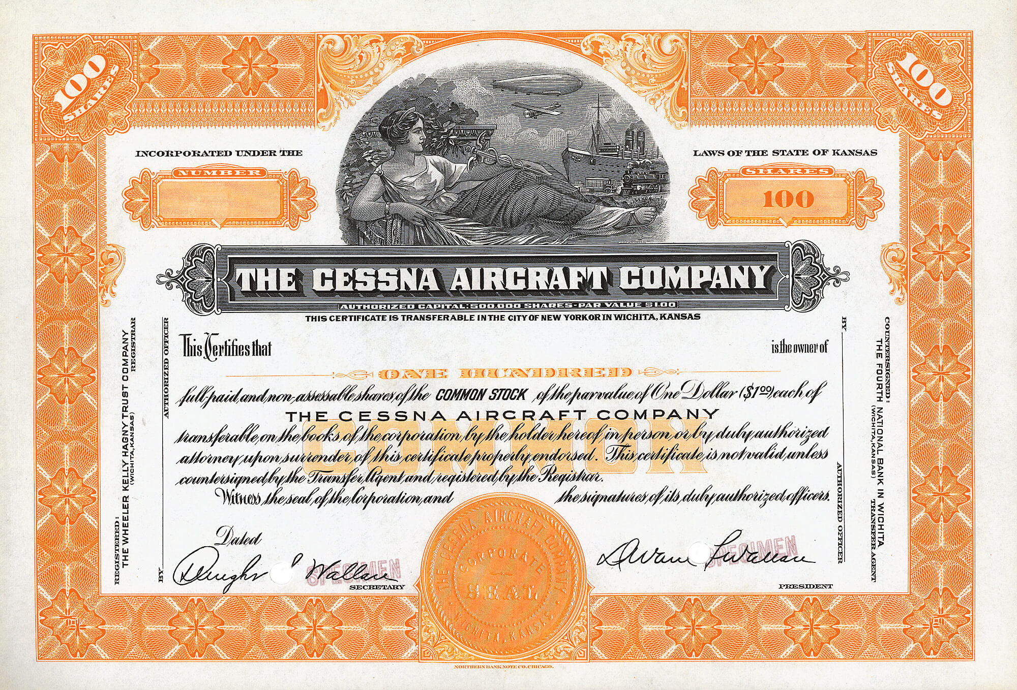 Cessna Aircraft Company 1950 100 Shares Of The Common