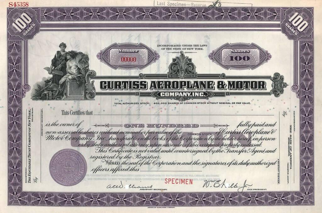Curtiss Aeroplane and Motor Company, historische Aktie von 1930. Die 1910 von dem berühmten amerikanischen Rennfahrer, Luftfahrtpionier, Pilot und Unternehmer Glenn H. Curtiss gegründete Firma belieferte neben der US-Marine auch die Luftwaffen von Russland, Japan, Deutschland und England.